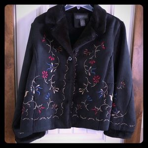 NWOT - Relativity Black Embroidered Jacket Size XL